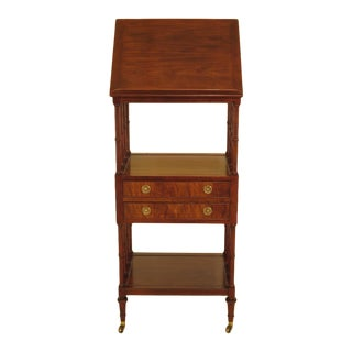1990s Vintage Baker Regency Mahogany 2 Drawer Lectern Book Stand For Sale