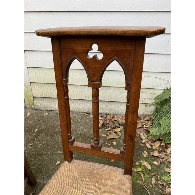 Brown Antique Prayer Chairs - a Pair For Sale - Image 8 of 13