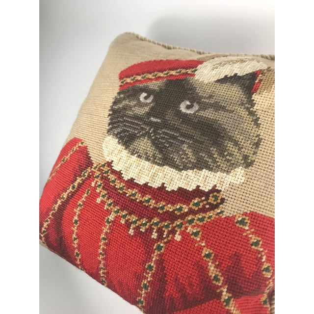 Gold Handmade Needlepoint Royal Cat Pillows - A Pair For Sale - Image 7 of 9
