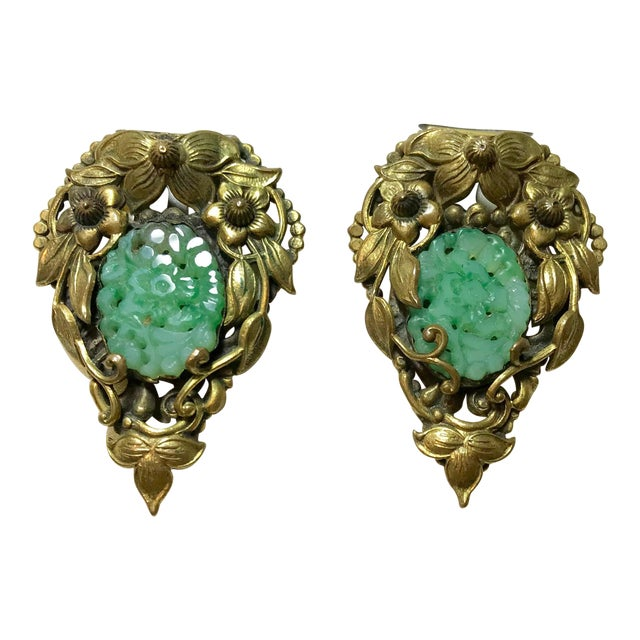 1930s Goldtone Floral Dress Clips Set With Molded Jade Green Glass - a Pair For Sale