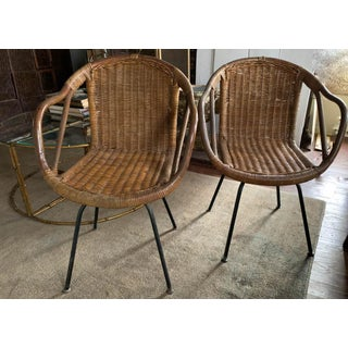 Pair, Mid Century Cali-Asia Rattan Swivel Chairs Preview