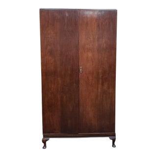 C.1920 Walnut Armoire. Uk Import. Hanging & Shelves. For Sale