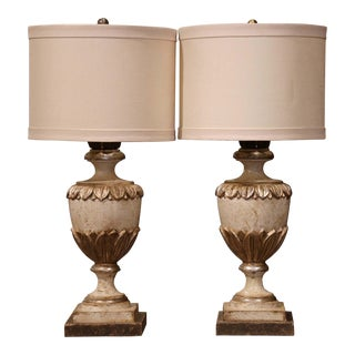 Pair of Italian Carved Wood Polychrome and Painted Urns Shape Table Lamps For Sale