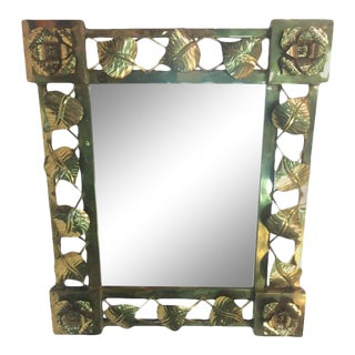 Hand Formed Brass Leaf and Flower Modern Mirror For Sale