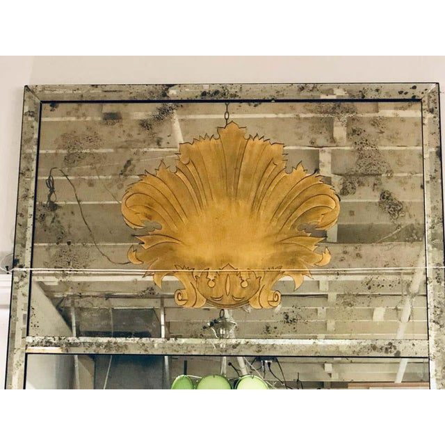 Hollywood Regency Eglomise Wall, Console Pier Mirrors Manner Maison Jansen Pair For Sale - Image 4 of 12