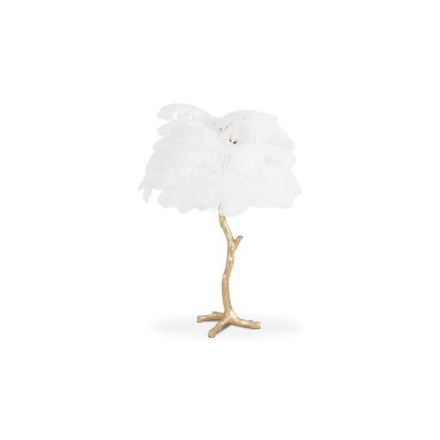 Jacques Duval-Brasseur Gold Palm Tree Lamp With White Feathers For Sale - Image 4 of 9