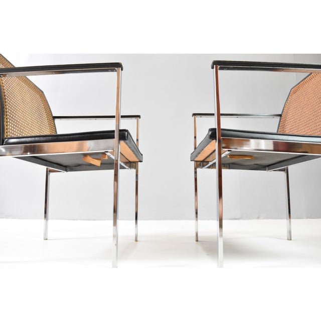 Caning Mid-Century Chrome & Cane Dining Chairs by Lane For Sale - Image 7 of 13