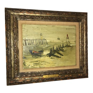 1940s Vintage Jean Le Guennec Boats Oil on Canvas Painting For Sale