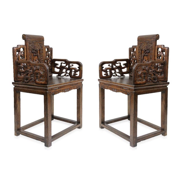 Antique Chinese Qing Armchairs - A Pair - Image 2 of 8