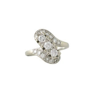 1940s Retro 14k White Gold and Diamond Ring For Sale