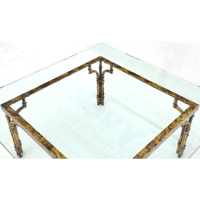 Gold Faux Bamboo Gold Gilt Frame Square Glass Top Coffee Table For Sale - Image 8 of 12