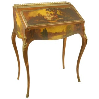 Late 19th Century Antique Secretary Desk With Painted Scene Fabric Lined For Sale
