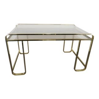 1970s Hollywood Regency Pierre Cardin for Design Institute of America Brass and Smoked Glass Writing Desk For Sale