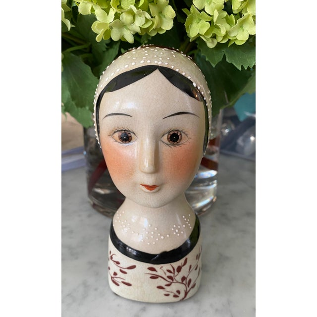 Vintage Hand Painted Flapper Girl of the Roaring 1920's For Sale - Image 9 of 9