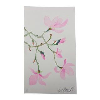 """Pink Magnolia 1"" Original Watercolor Painting For Sale"