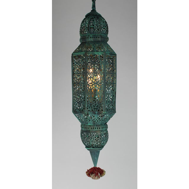 Boho Chic Moroccan Style Hanging Lantern For Sale - Image 3 of 9