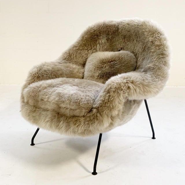 Vintage Eero Saarinen Womb Chair Restored in New Zealand Sheepskin For Sale - Image 10 of 10