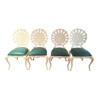White Clam Shell Aluminum Chairs With Cabriole Legs by Veneman - Set of 4 For Sale