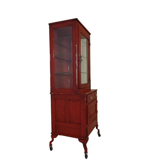 Industrial Red Painted Medical Cabinet For Sale - Image 3 of 8
