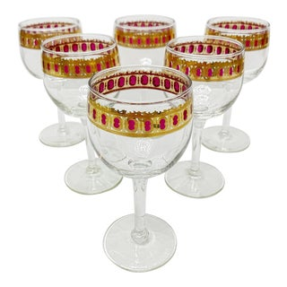 Vintage Ca 1950s Mid Century Hollywood Regency Stemware Footed Wine Glass With Gold Band, Set 6 Pieces For Sale