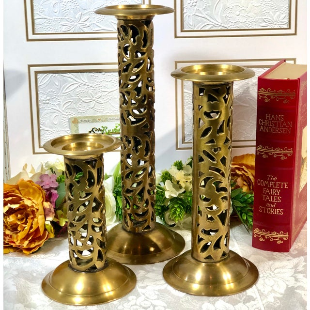 "Vintage Brass Heavy Candle Holders ""Filigree"" Tall Taper / Pillar Stand 3 - Set of 3 For Sale In Phoenix - Image 6 of 13"