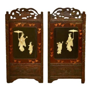 Antique Carved Wood Lacquered Japanese Geisha Screen Panels - a Pair For Sale