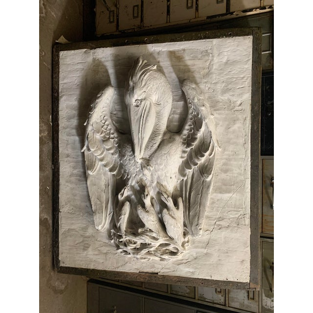Early 20th Century 19th Century Framed Plaster Relief Liturgical Art of the Mother Pelican Cast by P. P. Caproni For Sale - Image 5 of 5