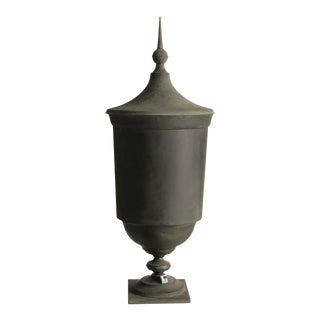 Mid 19th Century Vintage Belgian Zinc Footed Urn For Sale