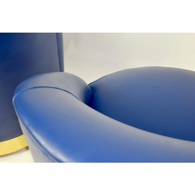 Karl Springer Style Chairs in Blue Leather with Brass Finish Base on Casters - Image 7 of 7