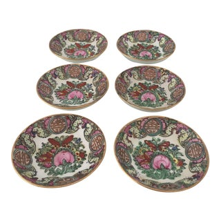 1970s Japanese Hand Painted Rose Medallion Sauce Bowls - Set of 6