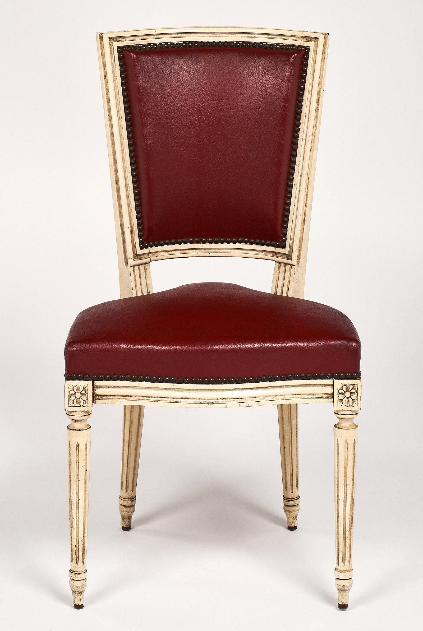Set Of Ten Red Louis XVI Style Dining Chairs   Image 3 Of 11