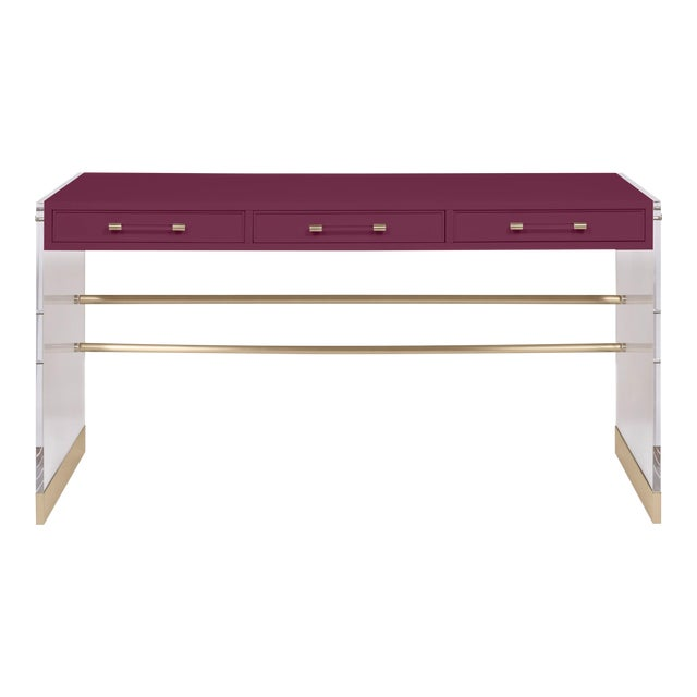 Casa Cosima Arden Desk with Taper Leg Base, Grape Juice For Sale