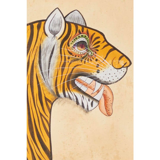 Folk Art 1980s Tiger Painting For Sale - Image 3 of 6