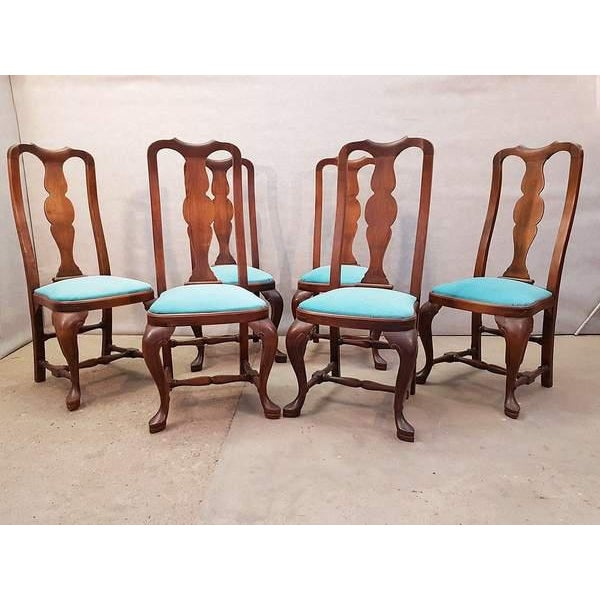 1940s French Antique Chippendale Queen Anne Style Walnut Turquoise Blue Reupholstered Dining Chairs - Set of 6 For Sale - Image 5 of 13