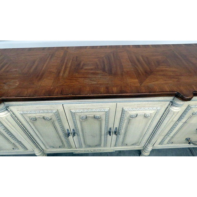 Mid 20th Century Louis XV Style Fruitwood Top Distressed Painted Sideboard For Sale - Image 5 of 13
