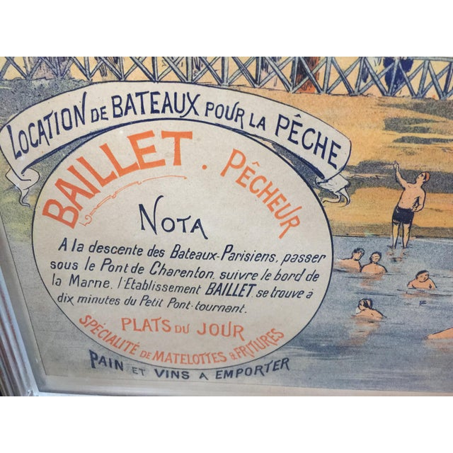 French Antique French Advertising Poster Baignade De St . Maurice For Sale - Image 3 of 8