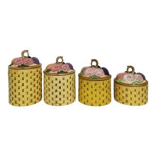 Vintage 1960's Ceramic Basket Weave Kitchen Canisters - 4 Piece Set For Sale