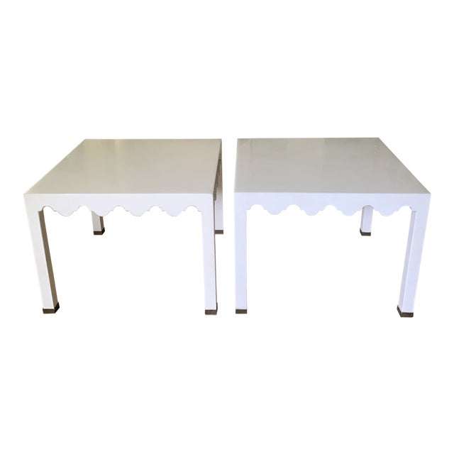 White Lacquered Grass Cloth Moroccan Style Side Tables- a Pair For Sale