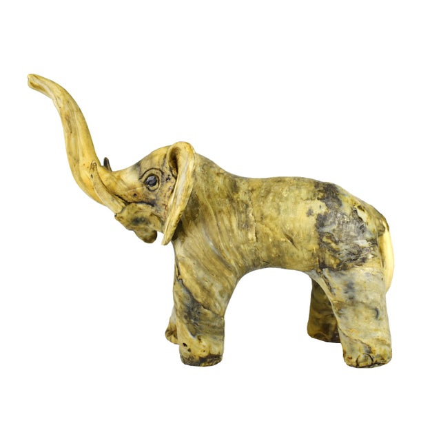 Yellow Vintage Handmade Crushed Oyster Shell Elephant Figurine For Sale - Image 8 of 8