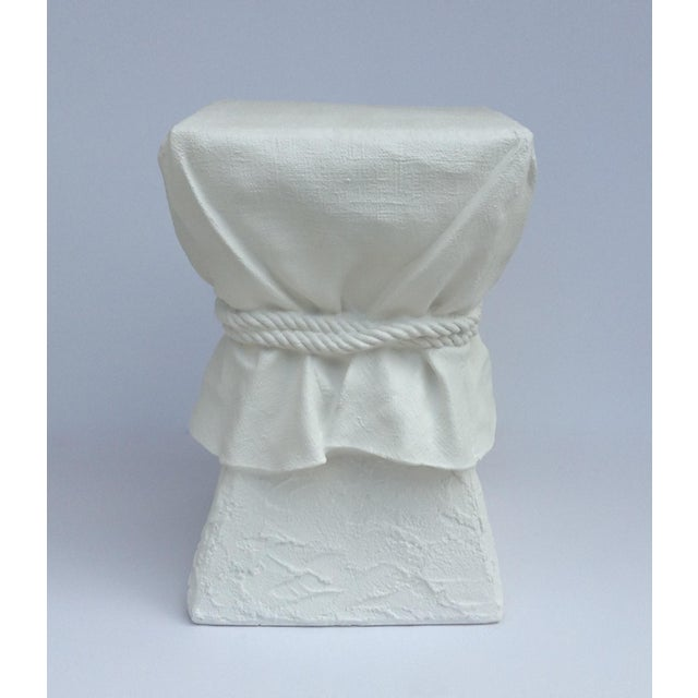 John Dickinson John Dickinson Attributed Draped Plaster Side Table Pedestal For Sale - Image 4 of 11