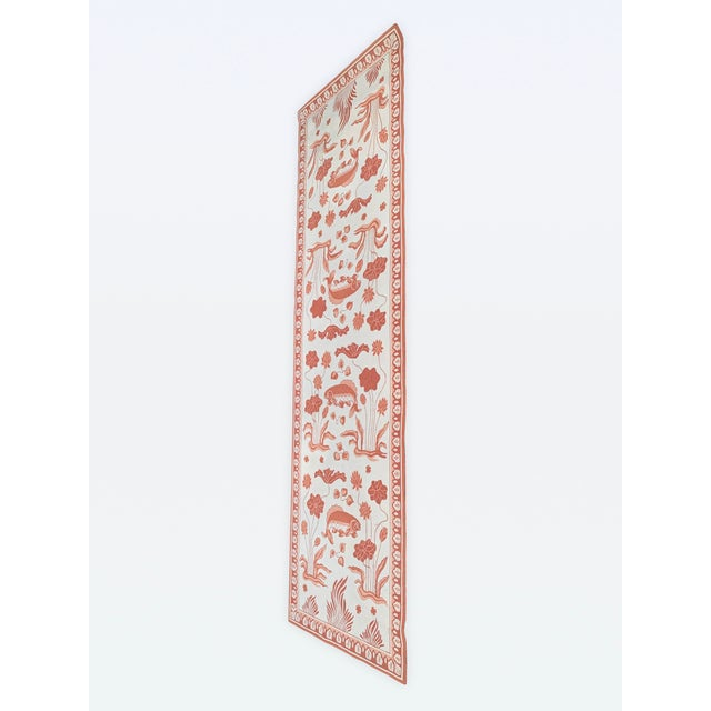 Fabulous Edward Fields custom designed coral and light cream extra long runner with fish and floral motif. Edward Fields...