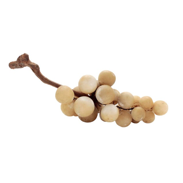 Collectible cluster of Italian alabaster grapes affixed to natural grape vine stem circa 50s. Part of personal collection...