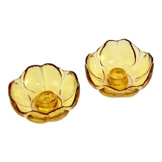 Amber Flower Candle Holders – a Pair For Sale