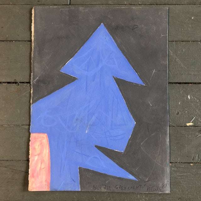 """1980s Vintage Robert Cooke Abstract """"Blue Tree"""" Pastel Drawing 1981 For Sale - Image 5 of 5"""