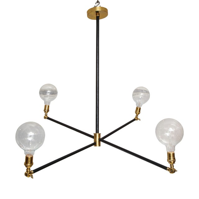 Sculptural Custom Leather and Brass Four-Arm Fixture With Articulating Arms For Sale