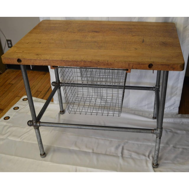 Maple Top Kitchen Island with Sliding Baskets - Image 3 of 9