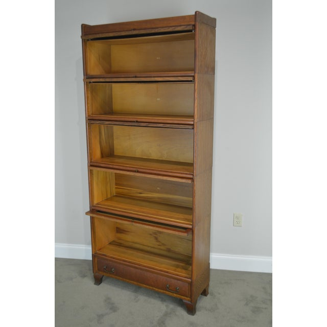 Antique Oak 5 Section Stacking Barrister Bookcase With Drawer by Weis For Sale In Philadelphia - Image 6 of 13