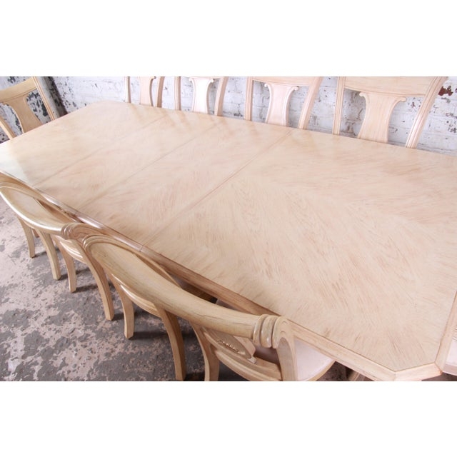 Bernhardt Mediterranean Style Carved Maple Dining Set With Ten Chairs For Sale In South Bend - Image 6 of 13
