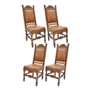 4 Antique Carved Lion Walnut & Brown Leather Renaissance Revival Dining Chairs