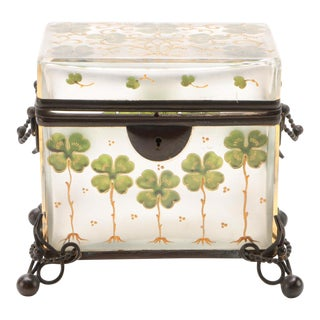 19th Century French Frosted Crystal Painted Enamel Clover Glass Box For Sale
